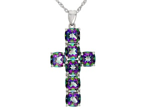 Multi-Color Quartz Rhodium Over Silver Cross Pendant With Chain 9.52ctw