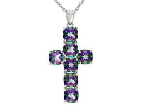 Multi-Color Quartz Rhodium Over Silver Cross Pendant With Chain 9.52ctw