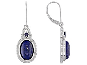 Blue Lapis Rhodium Over Sterling Silver Dangle Earrings .17ctw