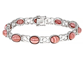 Pink Mookaite Rhodium Over Sterling Silver Tennis Bracelet