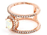 Multicolor Ethiopian Opal 18k Rose Gold Over Silver Ring 0.96ctw