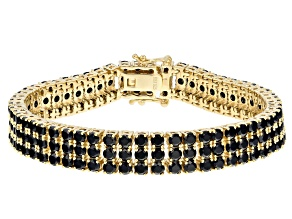 Black Spinel 18k Gold Over Sterling Silver Bracelet 23.38ctw