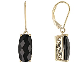 Black Spinel 18k Yellow Gold Over Sterling Silver Dangle Earrings 8.50ctw