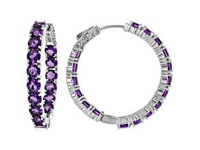 Purple Amethyst Rhodium Over Silver Inside/Outside Hoop Earrings 7.23ctw