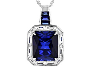 Blue Lab Created Sapphire Rhodium Over Silver Pendant With Chain 16.92ctw