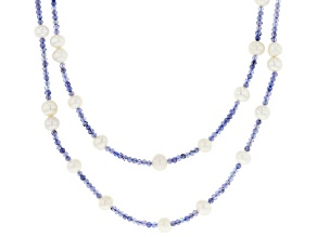 Blue Tanzanite Rhodium Over Sterling Silver Necklace