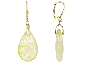 Golden Rutilated Quartz 18k Yellow Gold Over Sterling Silver Drop Earrings