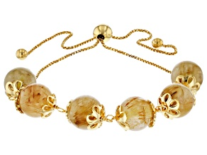 Golden Rutilated Quartz 18K Gold Over Silver Adjustable Bolo Bracelet