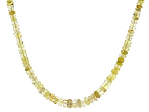 5x3-7x5mm Rondelle Golden Rutilated Quartz Beaded 18K Yellow Gold Over Sterling Silver Necklace