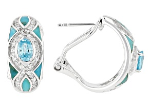 Blue Turquoise Rhodium Over Sterling Silver Earrings 2.02ctw