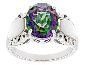 Green Mystic Fire(R) Topaz Rhodium Over Sterling Silver Ring 3.48ct