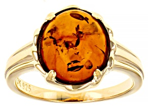 Orange Amber 18k Yellow Gold Over Sterling Silver Solitaire Ring