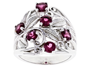Raspberry Color Rhodolite Rhodium Over Sterling Silver Ring 1.70ctw