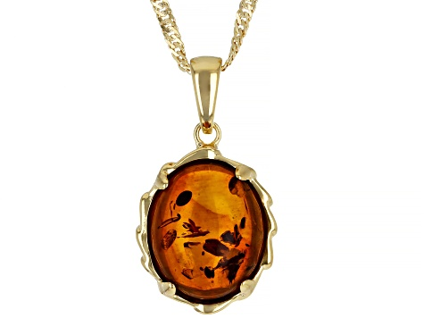 Orange Amber 18k Yellow Gold Over Sterling Silver Pendant With Chain