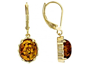 Orange Amber 18K Yelloiw Gold Over Sterling Silver Earrings