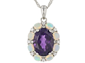 Purple African Amethyst Rhodium Over Sterling  Silver Pendant With Chain 6.01ctw