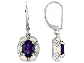 African Amethyst Rhodium Over Sterling Silver Earrings 2.83ctw