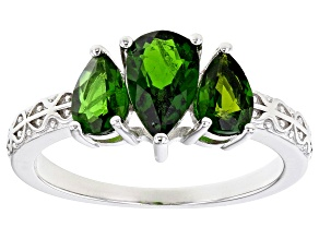 Green Chrome Diopside Rhodium Over Sterling Silver 3-stone Ring 1.48ctw