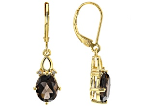 Brown Smoky Quartz 18K Yellow Gold Over Silver Dangle Earrings 2.92ctw