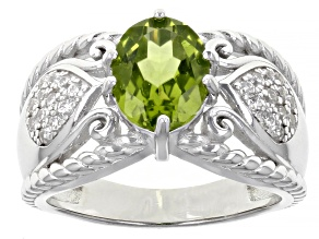 Green Peridot Rhodium Over Sterling Silver Ring 2.03ctw