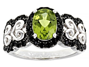 Green Peridot Rhodium Over Sterling Silver Ring 1.91ctw