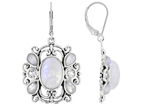 White Rainbow Moonstone Rhodium Over Silver Dangle Earrings 0.68ctw