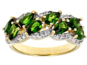 Green Chrome Diopside 18k Yellow Gold Over Silver Ring 1.84ctw