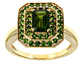 Green Chrome Diopside 18k Yellow Gold Over Silver Ring 1.41ctw