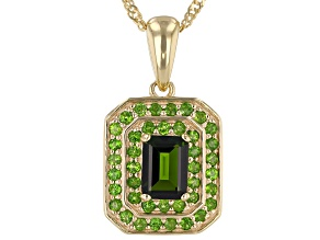 Green Chrome Diopside 18k Gold Over Silver Pendant With Chain 1.41ctw