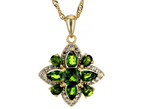Green Chrome Diopside  18k Yellow Gold Over Silver Pendant With Chain 2.07ctw