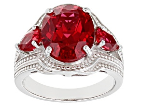 Orange Lab Created Padparadscha Sapphire Rhodium Over Silver Ring 6.48ctw