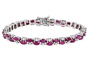 Red Indian Ruby Rhodium Over Sterling Silver Bracelet 11.13ctw