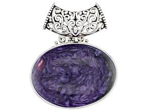 Purple Charoite Sterling Silver Slide Pendant