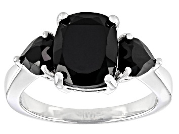 Picture of Black Spinel Rhodium Over Sterling Silver 3-Stone Ring