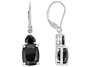 Black Spinel Rhodium Over Sterling Silver Earrings 7.77ctw
