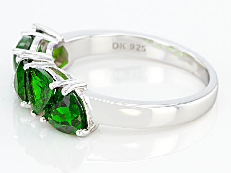 Green Trillion Chrome Diopside Rhodium Over Sterling Silver 5-stone Ring 2.25ctw