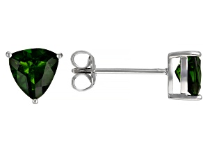 Green Chrome Diopside Rhodium Over Sterling Silver Solitaire Stud Earrings 2.13ctw