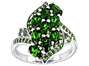 Green Chrome Diopside Rhodium Over Sterling Silver Ring 2.29ctw