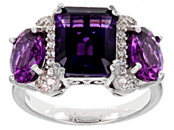 Picture of Purple Amethyst Rhodium Over Sterling Silver Ring 5.99ctw