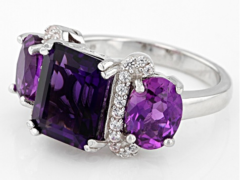 Purple Amethyst Rhodium Over Sterling Silver Ring 5.99ctw