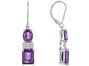 Purple African Amethyst Rhodium Over Sterling Silver Earrings 7.11ctw