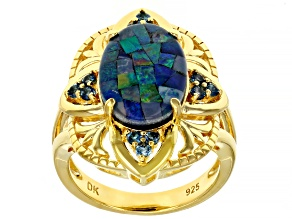 Multicolor Mosaic Opal Triplet 18K Yellow Gold Over Sterling Silver Ring 0.28ctw