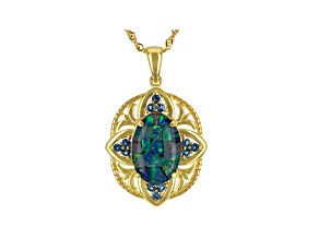 Multicolor Mosaic Opal Triplet 18k Gold Over Silver Pendant With Chain 0.31ctw