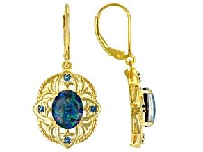 Muliticolor Mosaic Opal Triplet 18k Yellow Gold Over Silver Dangle Earrings 0.20ctw