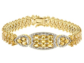 Yellow Citrine 18k Yellow Gold Over Sterling Silver Bracelet 14.63ctw