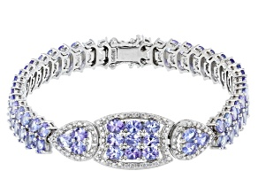 Blue Tanzanite Rhodium Over Silver Bracelet 12.07ctw