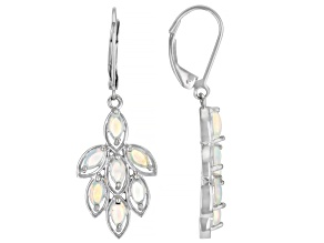 Multicolor Ethiopian Opal Rhodium Over Sterling Silver Dangle Earrings 1.42ctw
