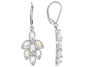 Multicolor Ethiopian Opal Rhodium Over Sterling Silver Dangle Earrings 1.42ctw