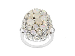 Multicolor Ethiopian Opal Rhodium Over Sterling Silver Ring 3.68ctw