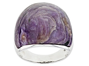 Purple Charoite Oxidized Sterling Silver Solitaire Ring